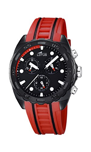 Lotus-Orologio da uomo al quarzo con Display con cronografo e cinturino in gomma, colore: rosso, 5 18159