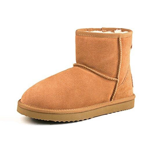 Shenduo Bottes femme hiver cuir(daim) imperméable, Boots fourrées Waterproof courtes doublure chaude D5154 Marron
