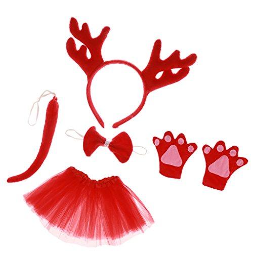 MagiDeal Tierkostüm 5tlg. Rentier Stirnband Fliege Handschuhe Schwanz Tutu Kleid Rentier Kostüm Set Karnevalskostüme Tiere Faschingskostüm Tierkostüm (Rentier Schwanz Kostüm)