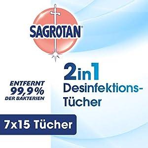 Sagrotan 2in1-Desinfektionstücher – Zum Desinfizieren von Händen und Oberflächen – 7 x 15 Feuchttücher in wiederverschließbarer Verpackung