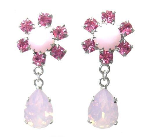 Orecchini cristallo Swarovski / orecchini a goccia in rosa & Opal per trafitto orecchie / orecchino di cristallo Swarovski in orecchini rosa / cristallo con pera Drop in rosa