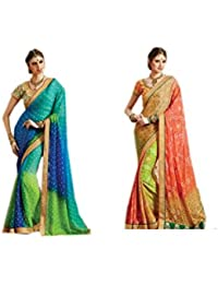 Mantra Fashions Women's Georgette Saree (Mant21_Multi)-Pack of 2