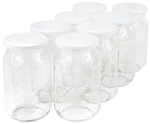 900 ml Einweckgläser mit Deckel weiß Einmachgläser Vorratsgläser Einmachglas Weck (Menge: 8 Stück) -