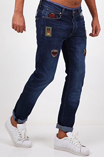 NDN Herren Jeans Slim Fit Destroyed Zerrissen Patch Denim Stretch Hose + GRATIS Turnbeutel Gymbag wasserdicht Blau, bestickte Aufnäher