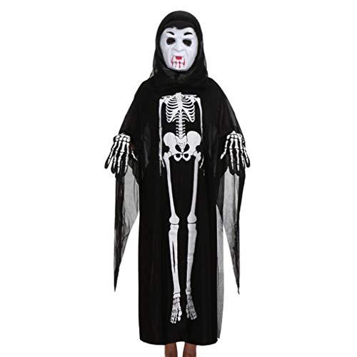 Lazzboy Halloween Kostüm Kinder Cosplay Umhang schutzmaske Handschuhe Zombie Familie Kleidung Deko 2018(Schwarz-B,Eltern)