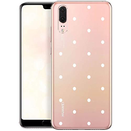 OOH!COLOR Handyhülle kompatibel mit Huawei P20 Hülle Silikon Handyhülle transparent Tasche Case mit Motiv weiße Punkte (EINWEG)
