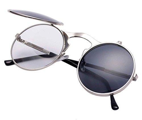 Runde Steampunk Polarisierte Sonnenbrille Metall Rand Rahmen Flip up Linse für Herren Damen UV400 (A/Silber/Grau, Nicht polarisiert)