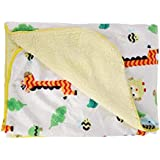 Baby Grow Double Layer Velvet Fleece Newborn Printed 76 X 100 Cm Size Baby Blanket (Yellow Beige Animals)
