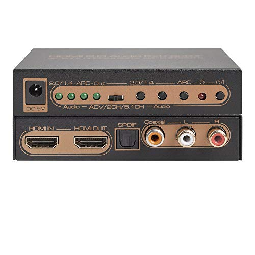 FFyy J HDMI 2.0 HDMI zu HDMI mit Audio Extractor, unterstützt HDCP2.2 ARC 4K / 60Hz UHD Matrix-port Expander