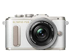 Olympus PEN E-PL8 Kit, Micro Four Thirds Systemkamera und M.Zuiko Digital ED 14-42 mm F3.5-5.6 EZ Zoomobjektiv, weiß/schwarz