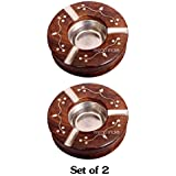 iTrend India Set of 2 Wooden Decorative Round Ashtray with 3 Spots for Resting While Smoking