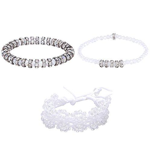 Morella Damen Armband Set 3 Armbänder mit geschliffenen Glasperlen und Zirkonia Ringen weiß