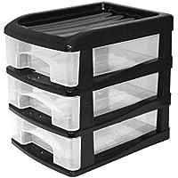 HOMEA Organiseur avec 3 mini tiroirs plastique 13x17x15,5 cm noir