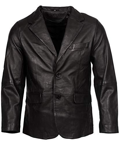 Infinity Leather Herren Klassisch Zugeschnitten 2 Taste Schwarz Blazer Weich 100% Lamm Lederjacke L -