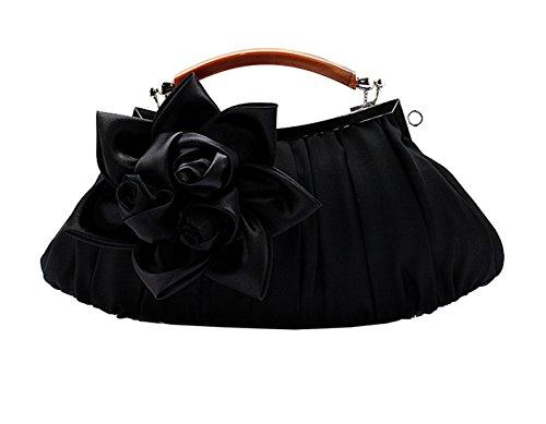 Heyjewels Damen Clutch Abendtasche Handtasche Brauttasche mit Blumen 29x15x5cm (B x H x T) Schwarz