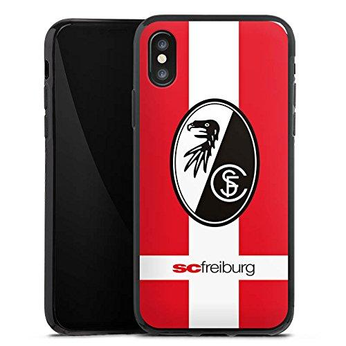 Apple iPhone X Silikon Hülle Case Schutzhülle SC Freiburg Fanartikel SCF Fussball Silikon Case schwarz