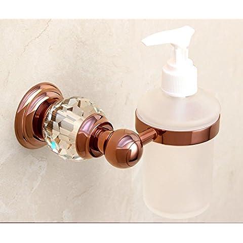 dispenser di sapone di cristallo in ottone dorato/lavello della cucina bottiglia dispenser di sapone a parete/Bagno disinfettante per le mani bottiglia/ciondolo in metallo in stile europeo-E