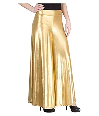 DAMEN MODE Women Golden Shimmer Palazzo Sharara_Free Size