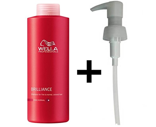 WELLA PROFESSIONALS BRILLIANCE COLOUR SHAMPOO FINE 1 LITRE / 1000ML + PUMP by Wella