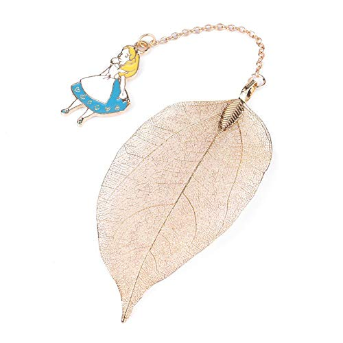 1PC Gold metal Leaf segnalibro con Alice coniglio orologio ciondolo per lettura libro di carta, Alice