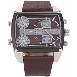 LEORX Oulm Precise Men's Boys Multi Time Display PU Band Quartz Analog Wrist Business Casual Watch