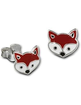 SterlinX Kids - Ohrringe mit Emaille-Lack - Fuchs Kopf - rot - für Kinder aus 925er Sterling Silber - D1SDO8146R