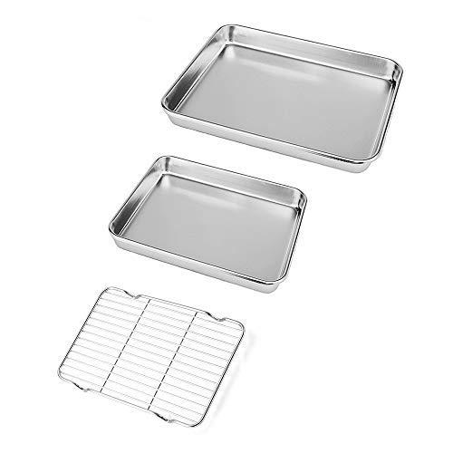 neeshow Edelstahl Toaster Ofen Pfanne Tablett Ofengeschirr Professional, Heavy Duty & gesund, deep edge, Superior Spiegel Finish, Spülmaschinenfest, Set von 2 (8-zoll-kuchen Pan Set Von 2)
