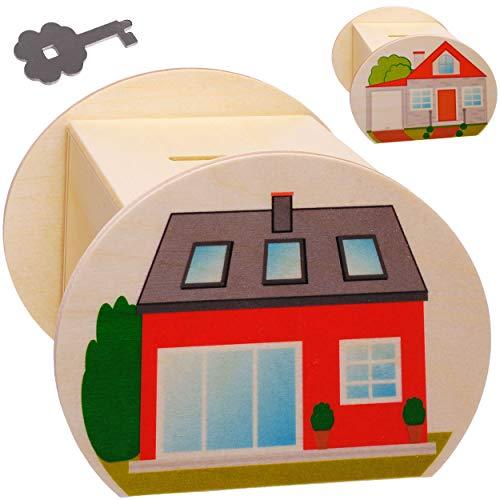 alles-meine.de GmbH große Holz - Spardose - Traumhaus - Haus / Einfamilienhaus - mit Schlüssel & Schloß - stabile Sparbüchse - 11,5 cm - Sparschwein - für Kinder & Erwachsene - K..