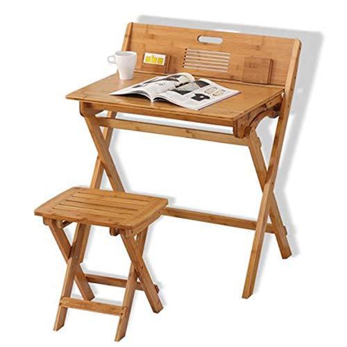 JJJJD Multifunktions-Kinderarbeitstisch und Schemel-Satz, Faltbarer Schreibtisch-Schreibtisch und Stuhl,...
