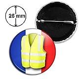 Badge 25mm Bouton Epinglette Gilet Jaune France Tricolore Bleu Blanc Rouge Drapeau Français