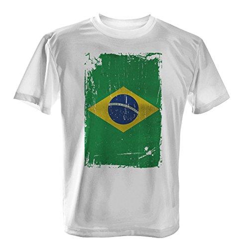 Brasilien Flagge längs - Herren T-Shirt von Fashionalarm   Fun Shirt Fahne Banner Vintage Grunge Freizeit Fussball Fan Weiß