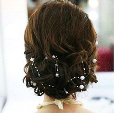 Miya® 4 Stück 1,3m schöne weiß Perlengirlande Braut Harr Accessoires,