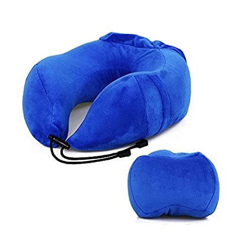 sunsang U Shape portable Memory Foam Travel Pillow Best for Camping, Studying, Voyageur and Working Bleu