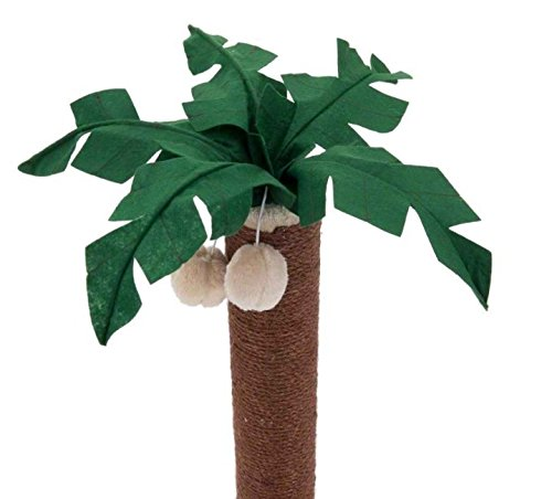 Coconut Palm Cat Scratching Post - with Dark Brown Sisal Covered Trunk and Plush-Covered Base - Adds A Touch of Tropical… 3