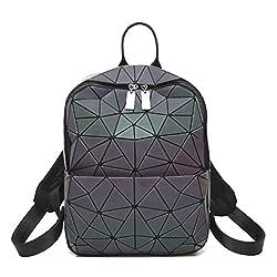 HotOne Geometric Backpack Holographic Reflektierende Rucksäcke Mode-Rucksack(Rucksack Nr.3, M)