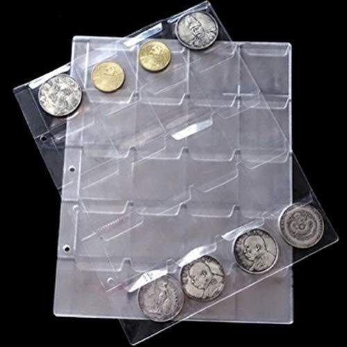 Photo Albums - 1 Sheets 20 Pockets Transparent Money Coin Collection Page Albums Decor Coins Holders Album - Wedding Costume Albums Page Card Album Money Book Coin Youth Korean Photo Pur (Album Coin Pocket)