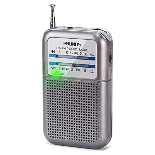 PRUNUS DEGEN-DE333 Tragbares Taschen Klein UKW FM/AM(MW) Radio, Hervorragender Empfang, Drehregler mit Signalanzeige. Unterstützt Austauschbare Batterien (AAA).