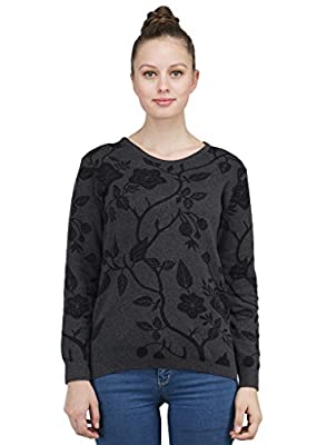 Women's Round Neck Full Sleeves Jacquard Cotton Sweater