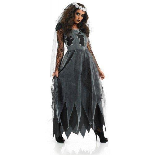 Leichnam Lang Länge Braut Halloween Kostüm Kleid Outfit 8-30 Übergröße - 48-50 (Halloween Kostüm Corpse Bride)