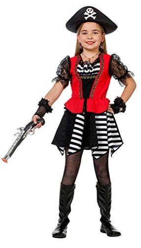 Karneval-Klamotten Piraten-Kostüm Piratin Kinder Mädchen schwarz-weiß-rot Piratenbraut Kleid Größe 128