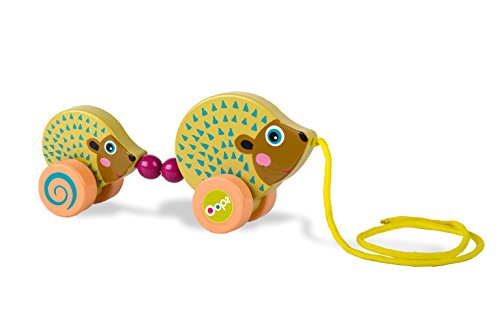 Oops LHB-17005.24 - Easy Family Nachziehspielzeug aus Holz in buntem, niedlichem Tierdesign - Igel