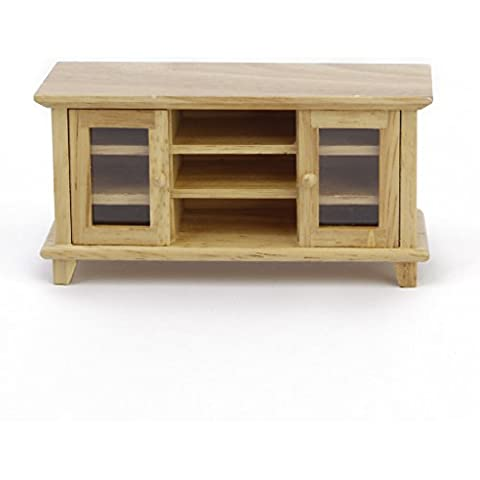 Mueble de Madera de Televisor Mueble de Casa de Muñeca de Escala 1:12