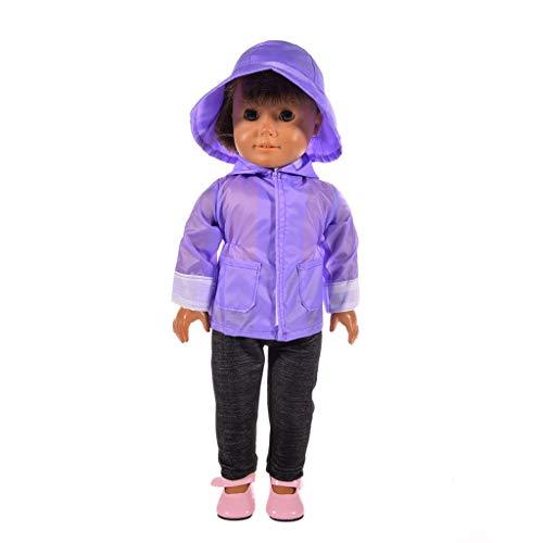 Zolimx Puppe Regenmantel Gesetzt Kleidung Hut Pullover Jeans Set für American Dolls 18 Zoll Zubehör Mädchen Spielzeug - Cabrio Jeans