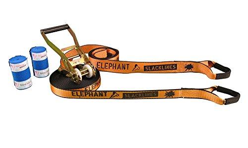 Elephant Slacklines Set Wing 3.5,  15 m lang, 3,5 cm breit + Baumschutz