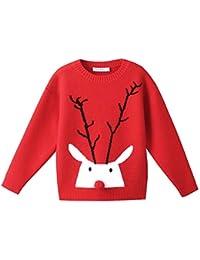 Unisex Niños Bebé Niños Dibujos Animados de Manga Larga Suéter navideño Reno de Navidad Muñeco de Nieve Santa Jumper Top Casual Sudadera de Punto Otoño Invierno Ropa de Abrigo