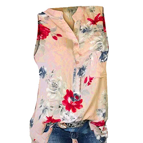 Momoxi Damen Sommer Plus Size Loose Print V-Ausschnitt ärmellose Bluse Pullover Casual Tank Lady-fit Tops Shirt Sleeveless am Strand Gelb XL -