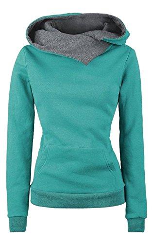 Minetom Femmes Automne Hiver Manches Longues Shawl Collar Sweat À Capuche Sweat-Shirt Manteau Vert