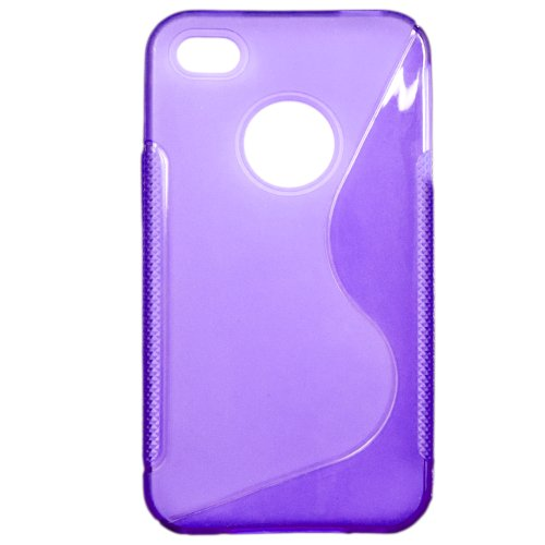 Luxburg® Elegante gepolsterte Pull Tab Stoff Schutzhülle Tasche Case für Apple iPhone 4 / 4S /4G - Grün TPU - Lila
