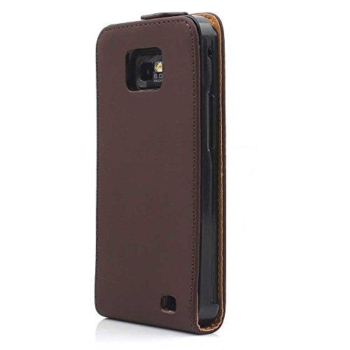 HSRpro Hülle für Samsung i9100 Galaxy S2 - S II Flip Tasche Cover Case Schutz Etui Handytasche - Handyhülle - Schutzhülle in Braun