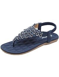 Damen Sandalen Zehentrenner Flach Sandaletten Sommer Schuhe Bohemian Strass Mädchen Strand Hausschuhe Outdoor Braun 41